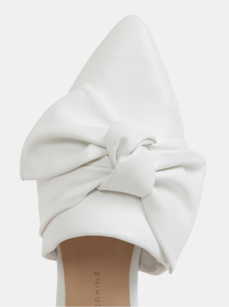 Bílé pantofle s mašlí Dorothy Perkins