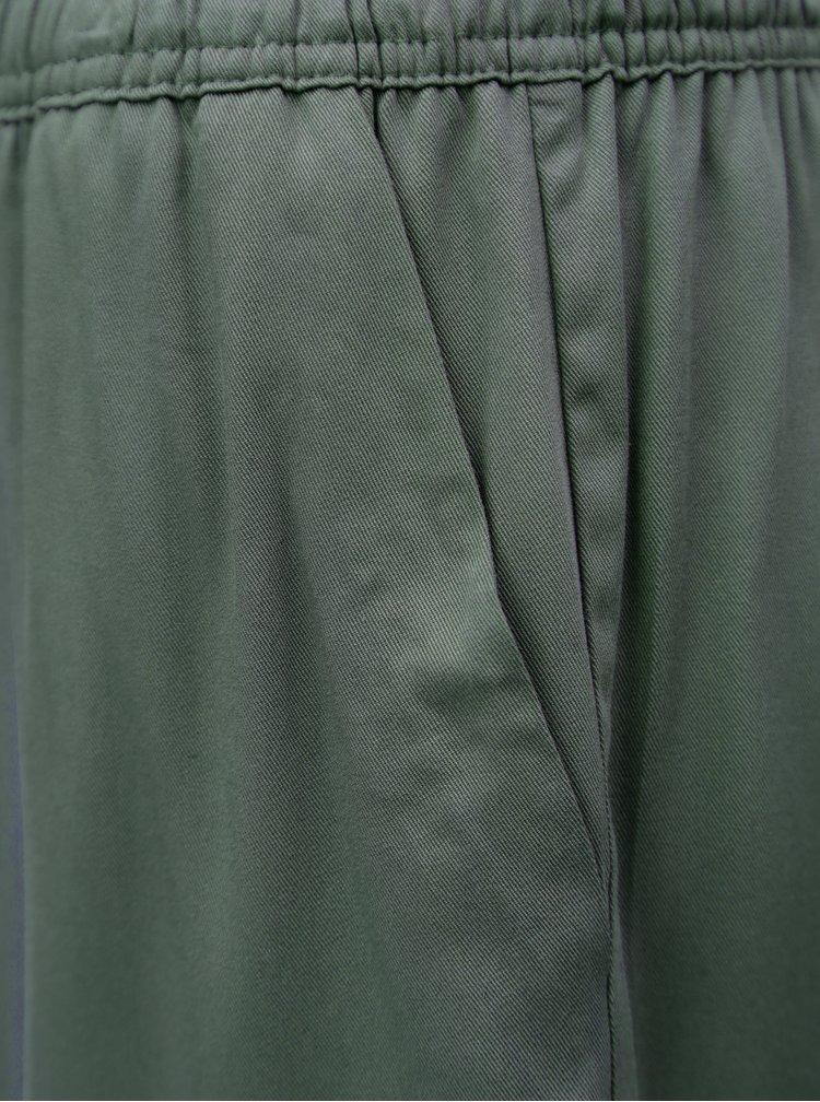Zelenošedé volné kraťasy s vysokým pasem Jacqueline de Yong Capella