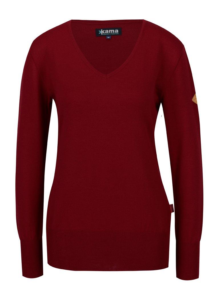 Červený dámský svetr z Merino vlny Kama
