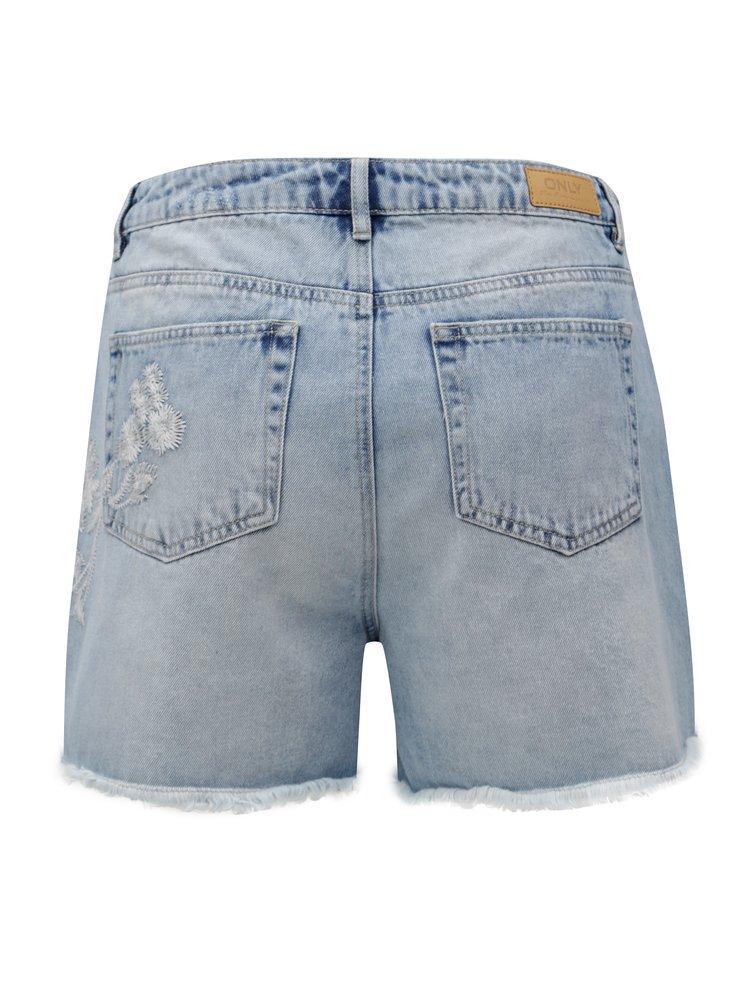 Světle modré džínové kraťasy s vysokým pasem a výšivkou ONLY Mary