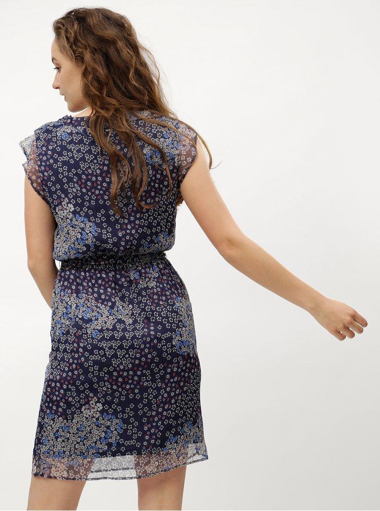 Tmavě modré květované šaty s.Oliver