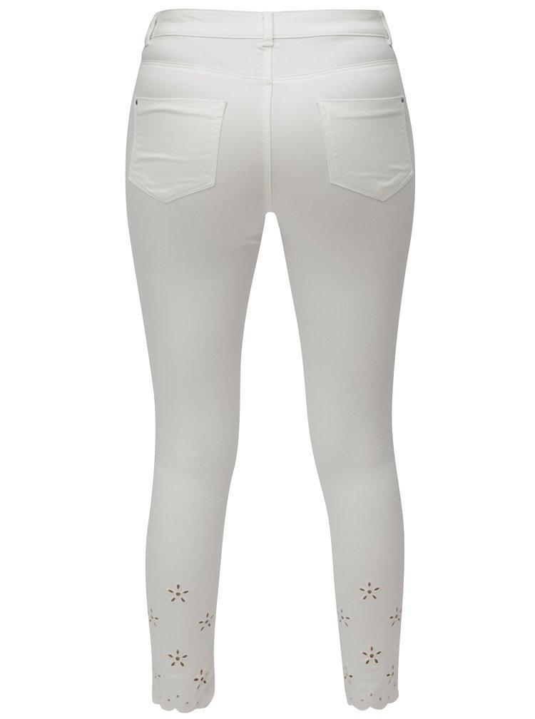 Bílé zkrácené skinny džíny s průstřihy na nohavicích Dorothy Perkins Frankie
