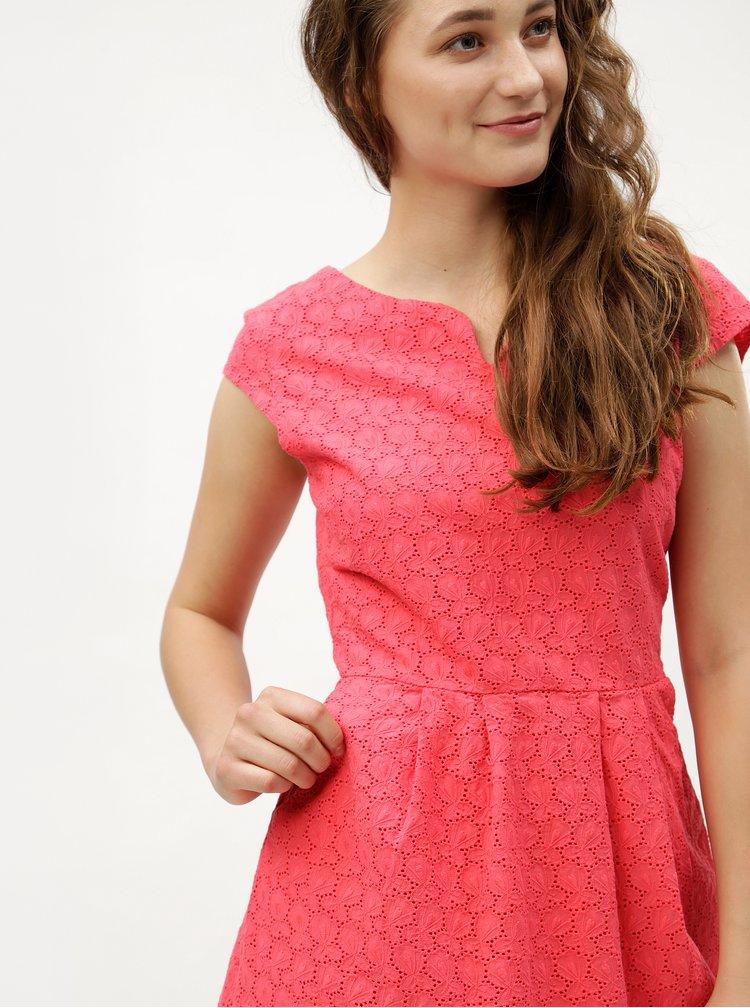 Růžové šaty s vyšívaným vzorem s.Oliver