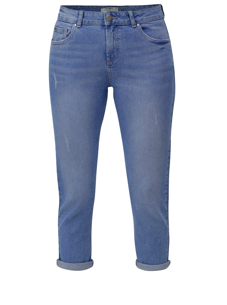 Blugi albastru deschis regular crop din denim Dorothy Perkins