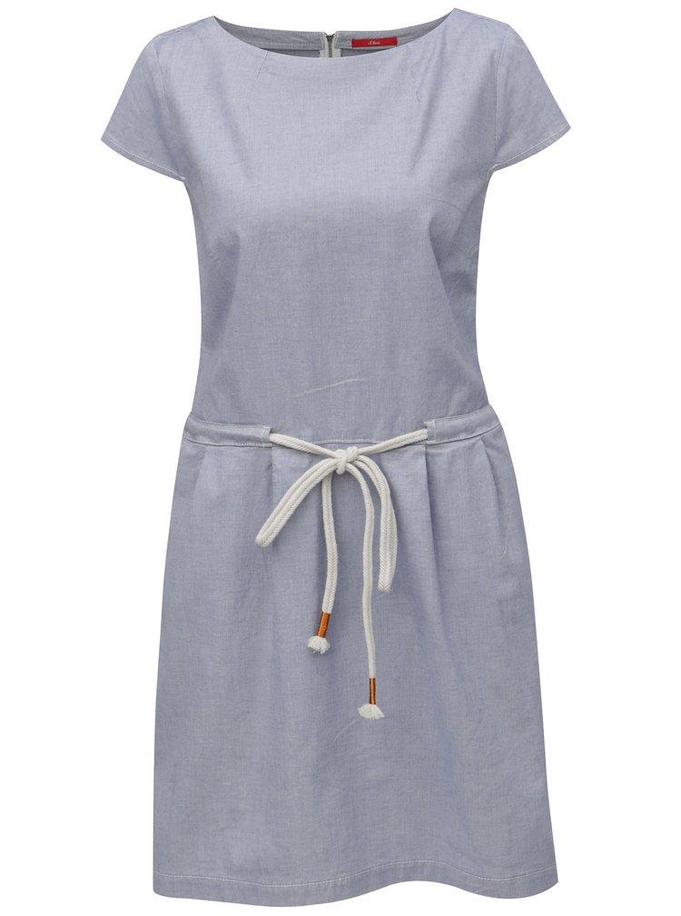 Světle modré šaty se zavazováním s.Oliver