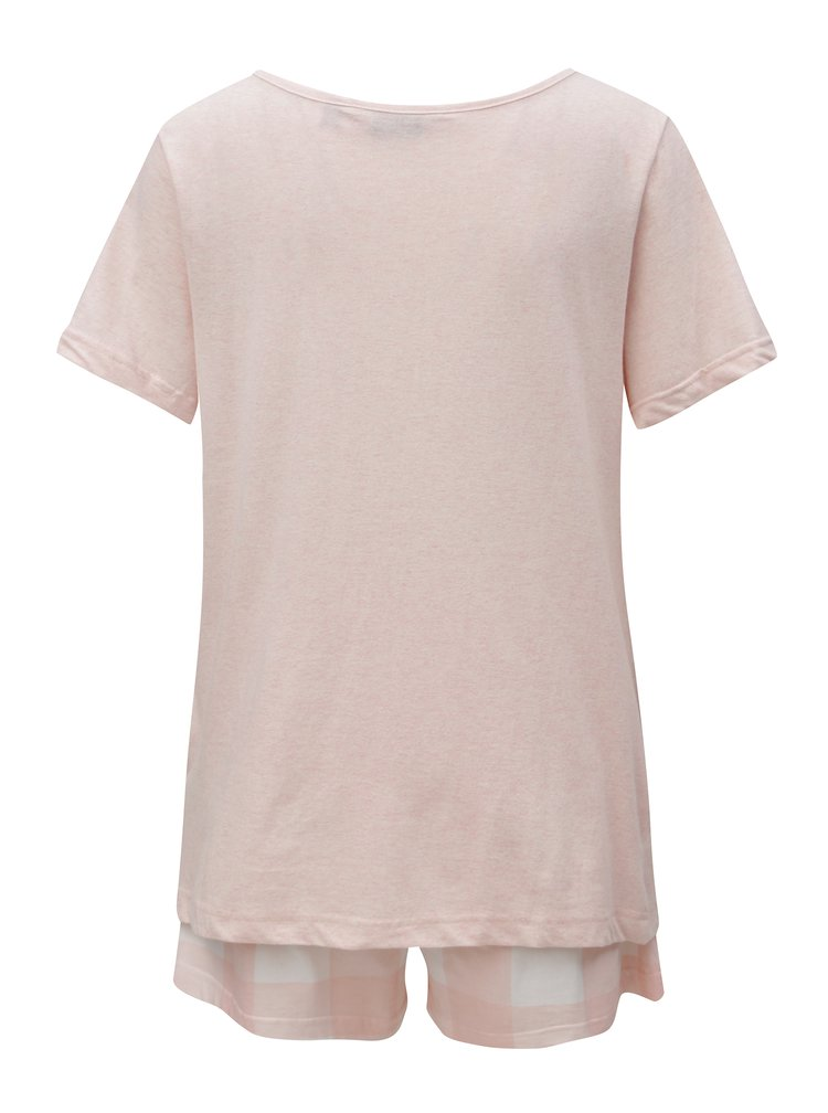 Světle růžové dvoudílné pyžamo s výšivkou Dorothy Perkins