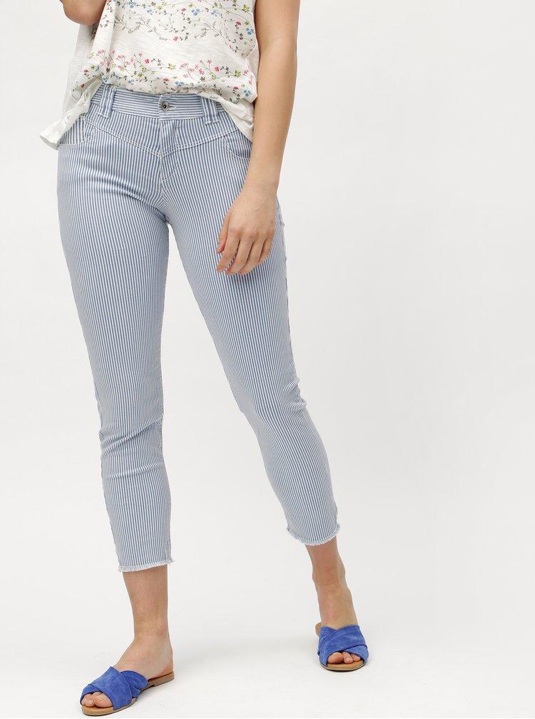 Světle modré dámské pruhované slim fit džíny s.Oliver