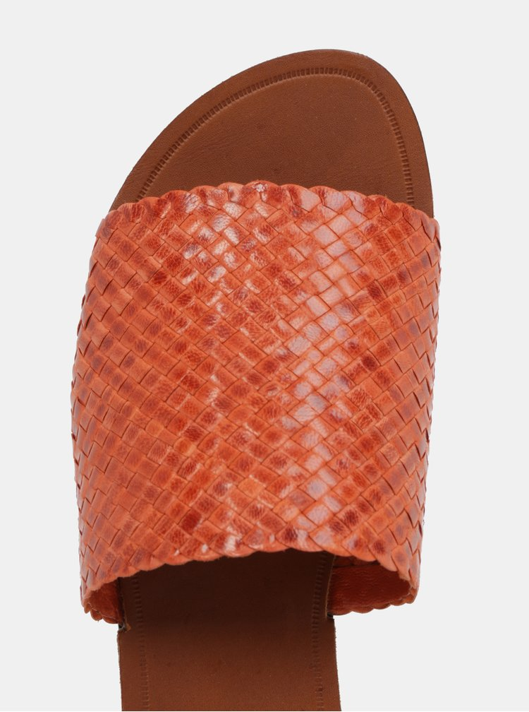 Cihlové dámské kožené pantofle Vagabond Tia