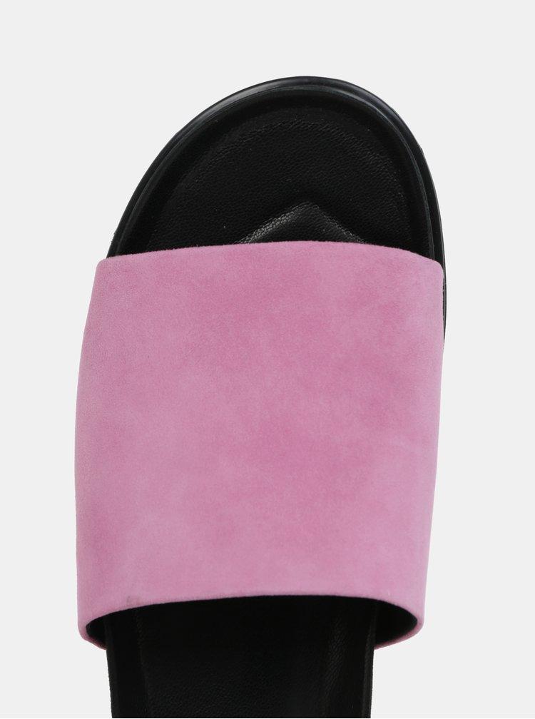 Čierno-ružové dámske semišové šľapky na platforme Vagabond Erin