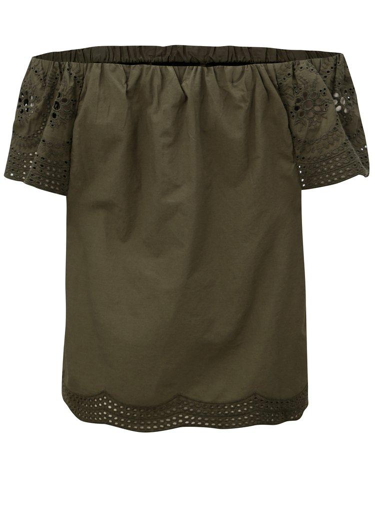 Khaki halenka s odhalenými rameny Dorothy Perkins