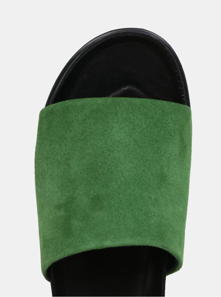 Černo-zelené dámské semišové pantofle na platformě Vagabond Erin