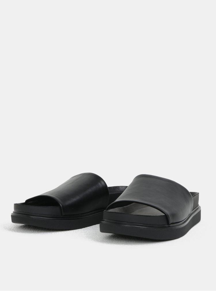 Černé dámské kožené pantofle na platformě Vagabond Erin