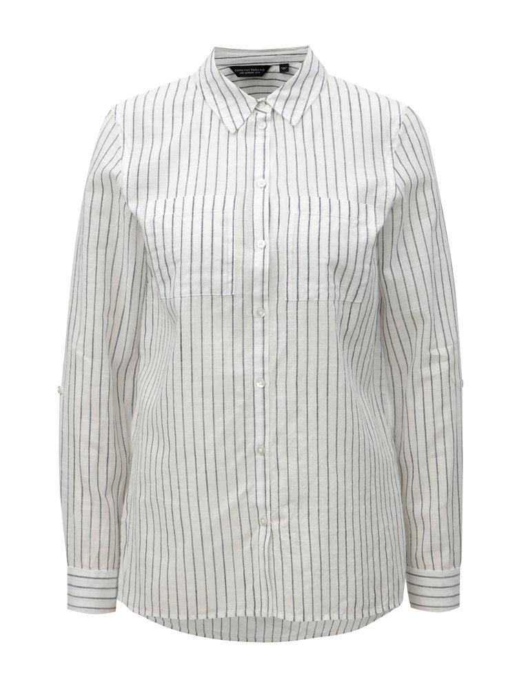 Šedo-bílá pruhovaná košile s dlouhým rukávem Dorothy Perkins
