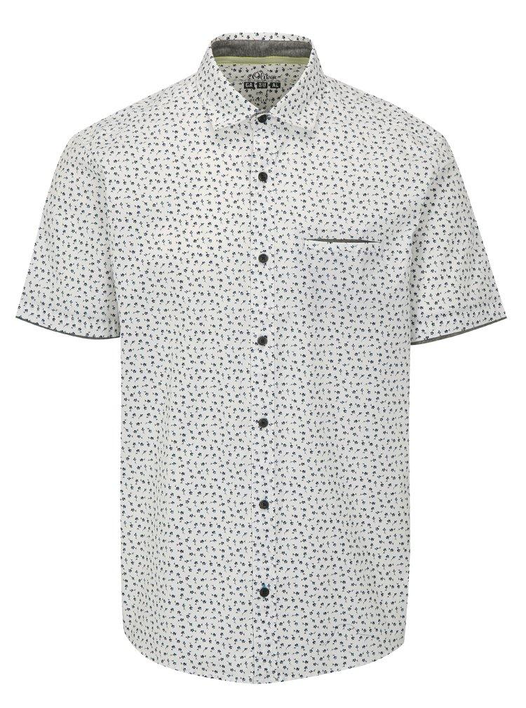 Bílá pánská regular fit košile se vzorem s.Oliver