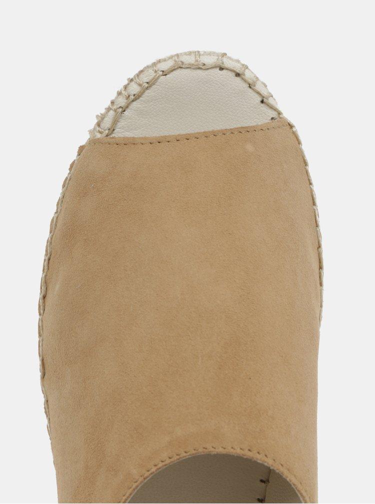 Béžové dámské semišové sandály na platformě Vagabond Celeste