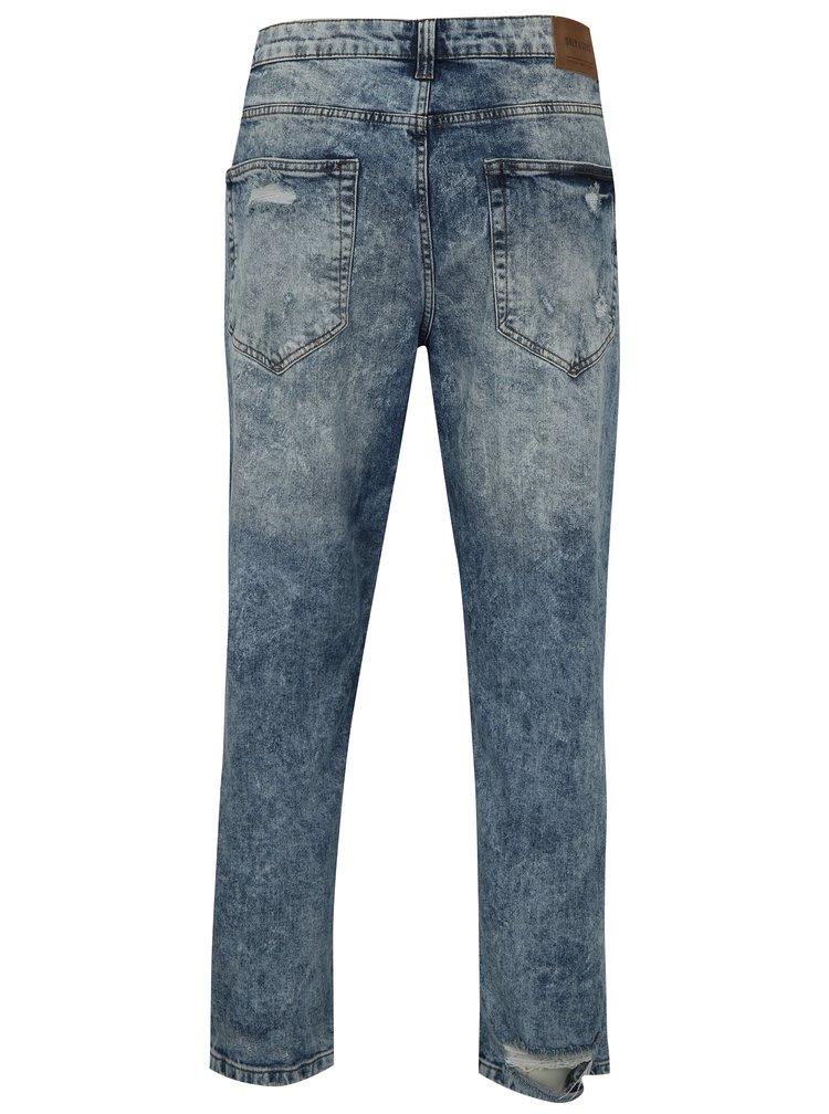Modré žíhané zkrácené džíny s potrhaným efektem ONLY & SONS Beam