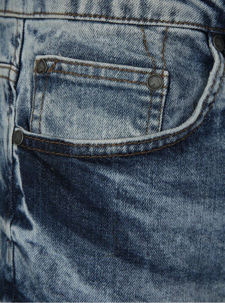 Blugi albastri melanj cropped din denim cu aspect uzat si prespalat ONLY & SONS Beam