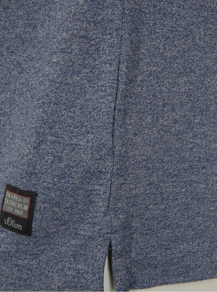 Modré žíhané pánské polo tričko s květovaným vzorem s.Oliver