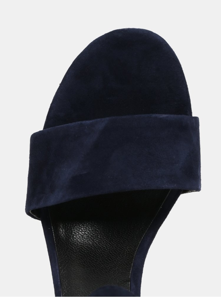 Tmavě modré dámské semišové sandálky na podpatku Vagabond Carol