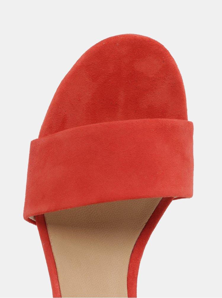 Červené dámské semišové sandálky na podpatku Vagabond Carol