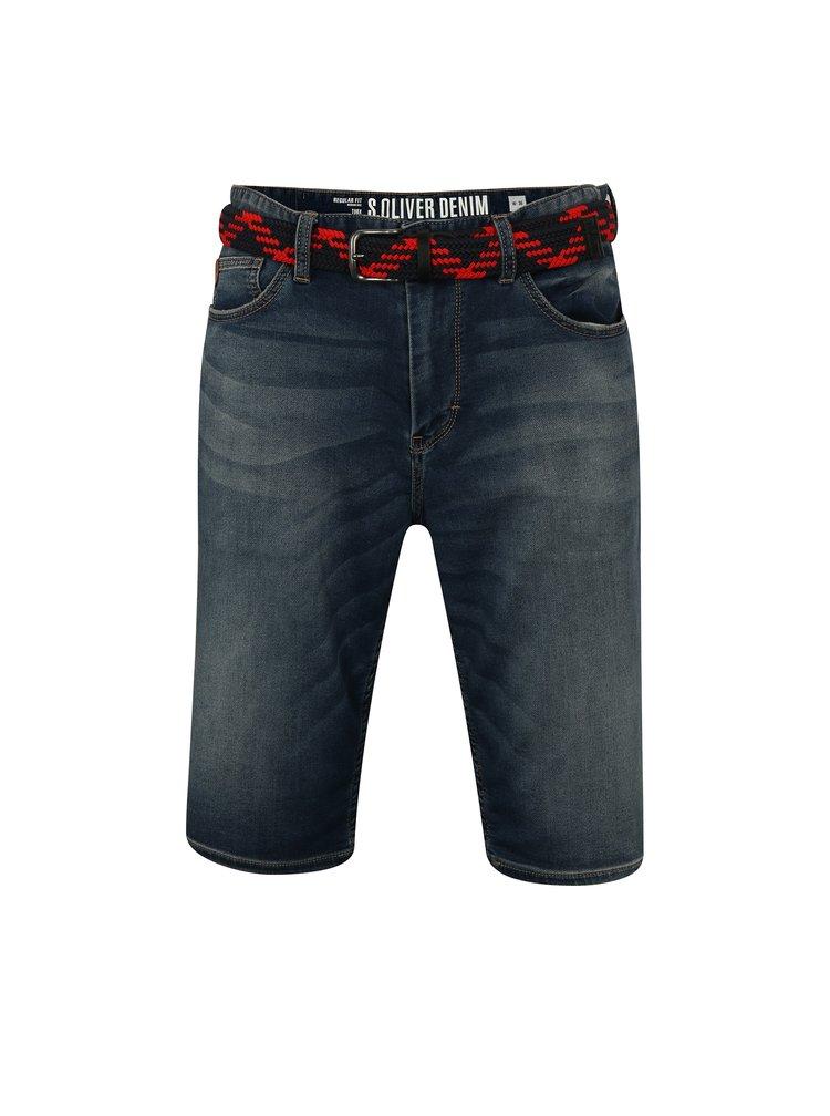 Pantaloni barbatesti scurti albastru inchis cu curea s.Oliver