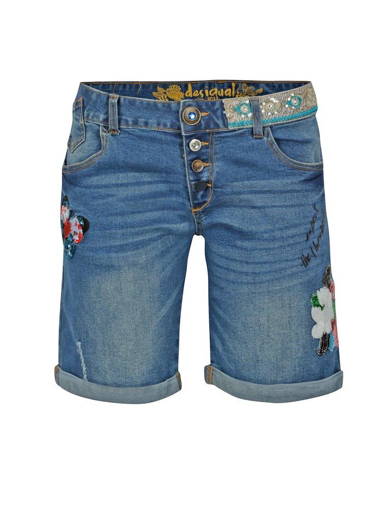Modré džínové kraťasy s výšivkou Desigual Magalie