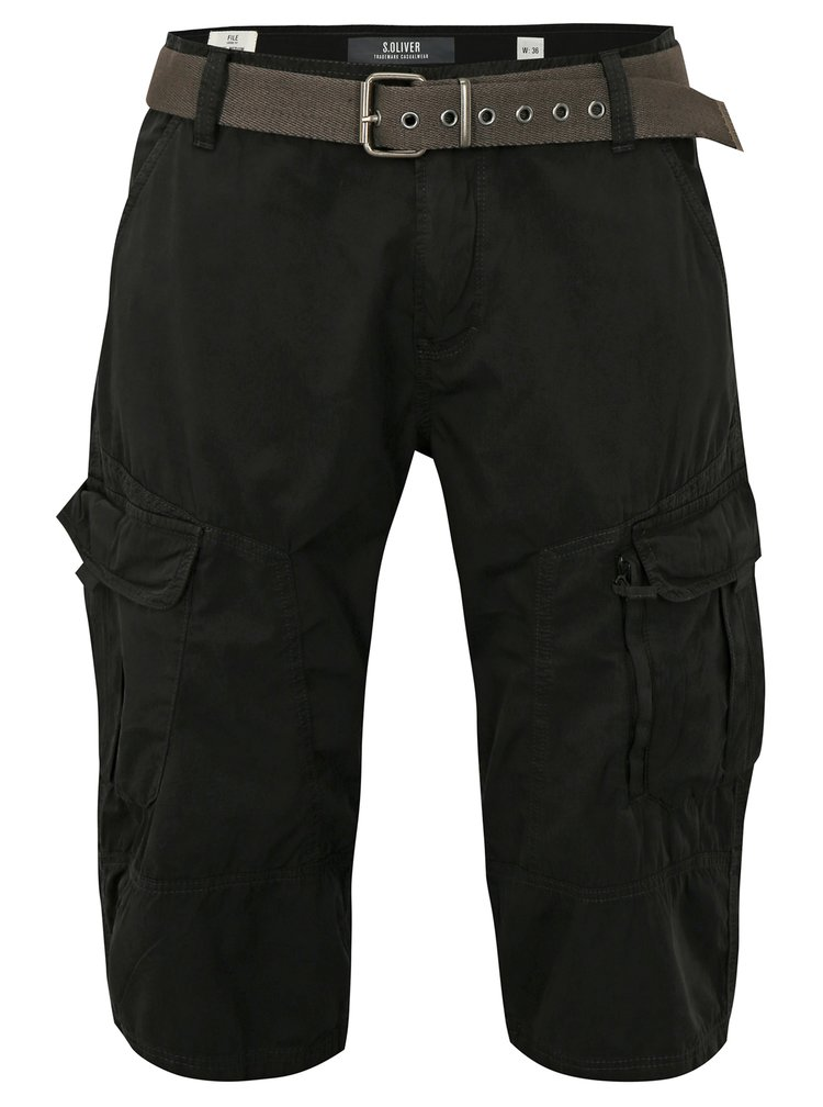Pantaloni barbatesti scurti negri loose fit cu buzunare s.Oliver