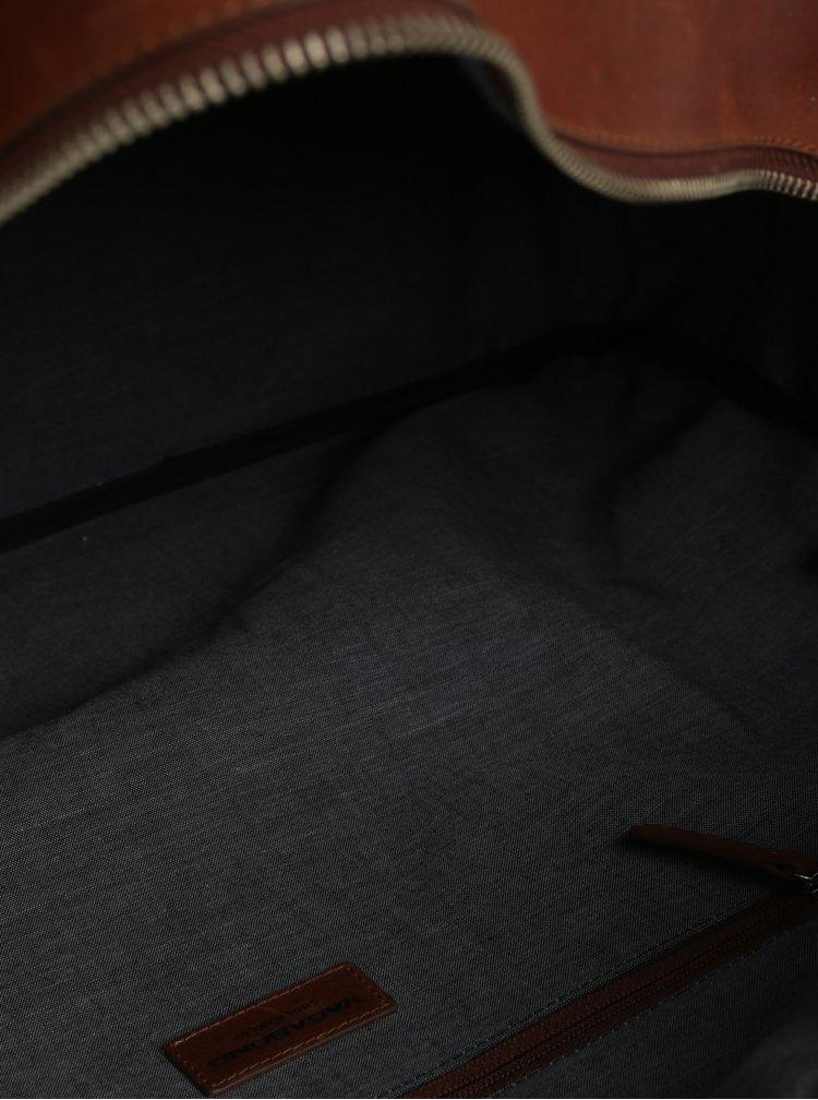 Hnědá kožená cestovní taška Vagabond Torino