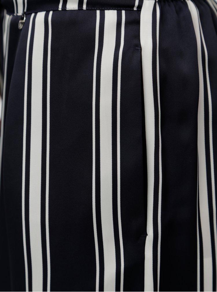 Tmavě modré pruhované volné kalhoty Rich & Royal