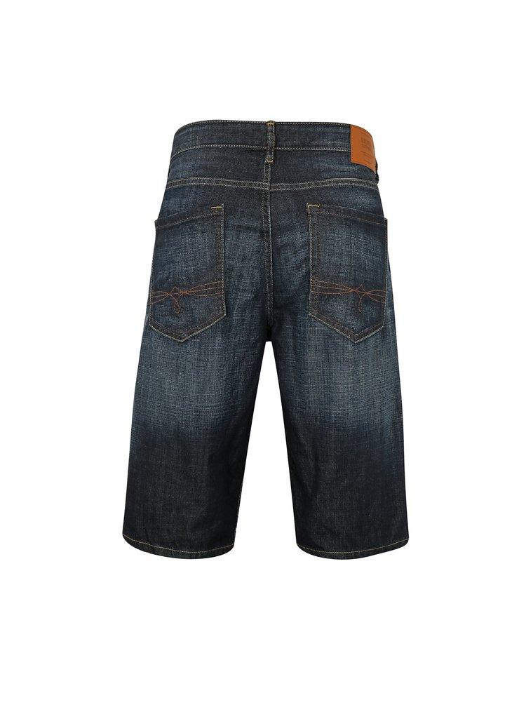 Tmavě modré pánské džínové regular fit kraťasy vyšisovaným efektem s.Oliver