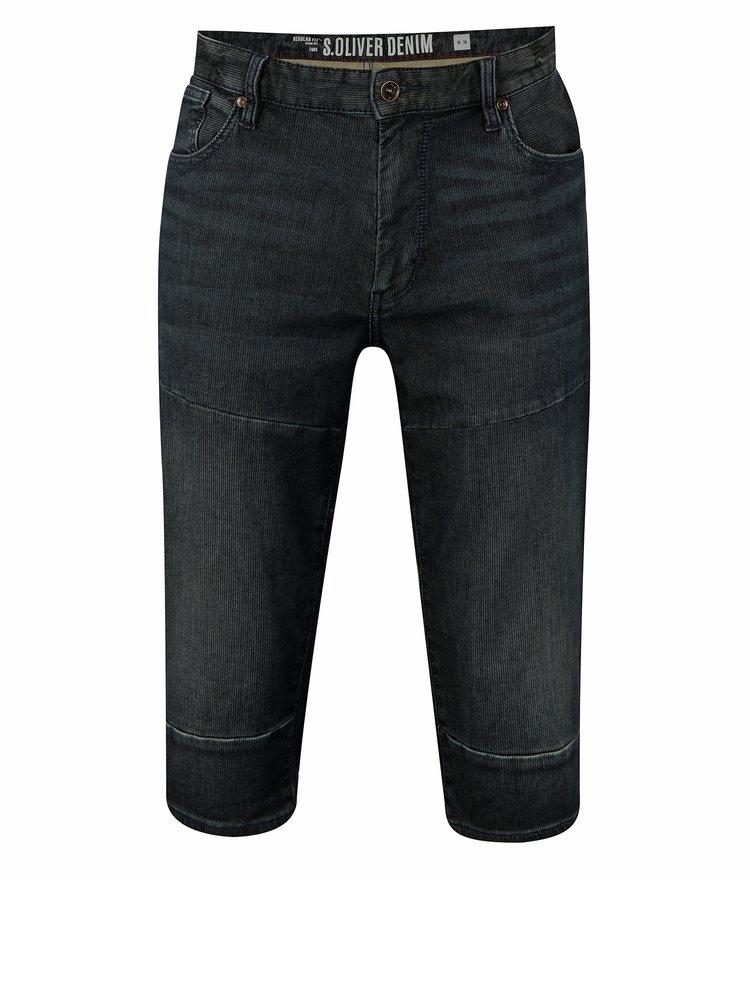 Tmavě modré pánské džínové regular fit kraťasy s.Oliver