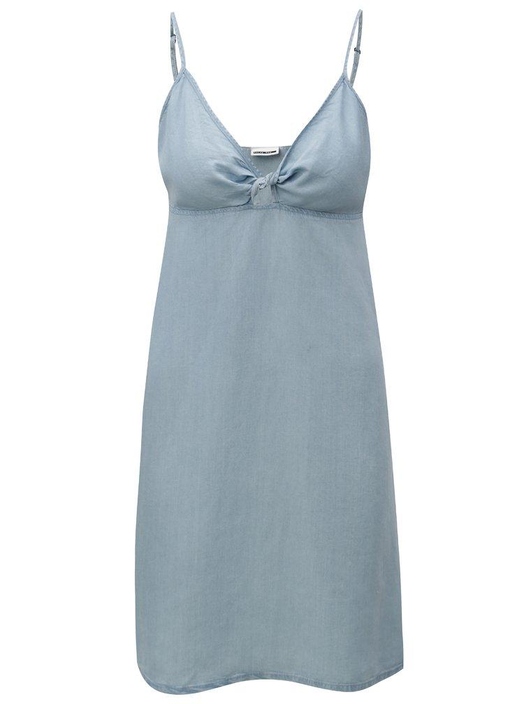 Světle modré džínové šaty s průstřihem v dekoltu Noisy May Leah