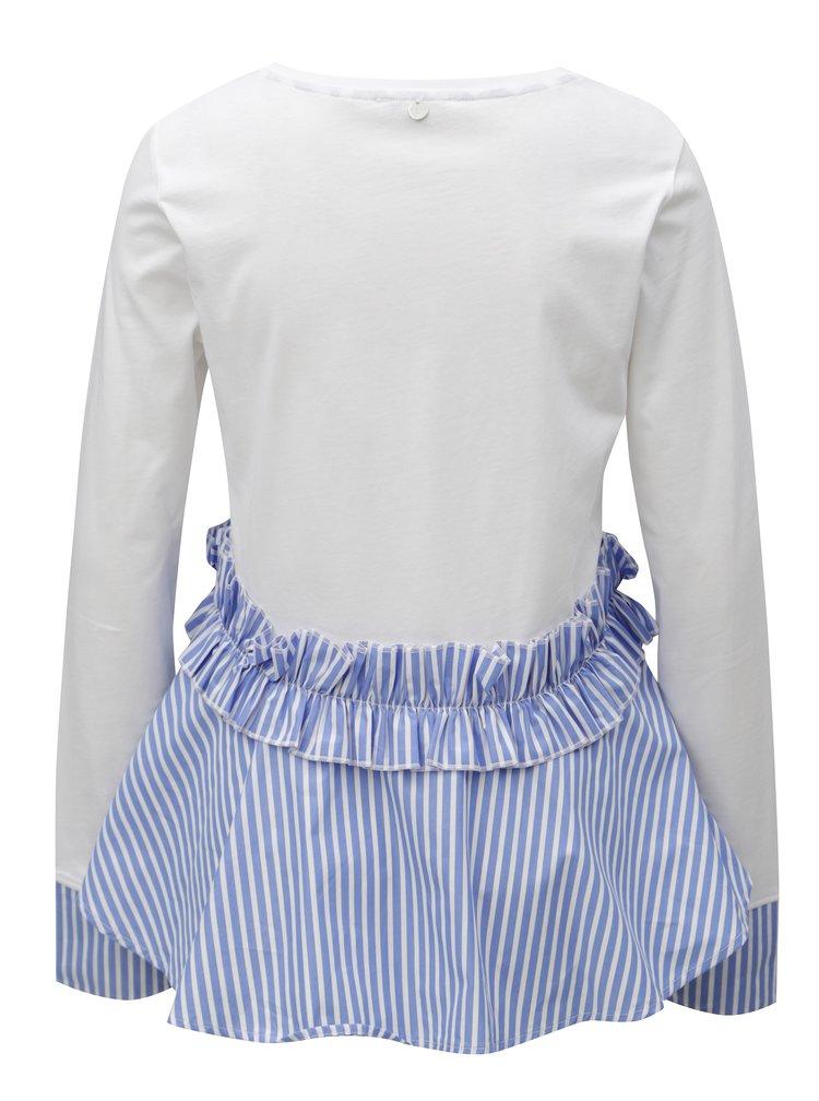 Modro-bílý top s pruhovaným volánem Rich & Royal