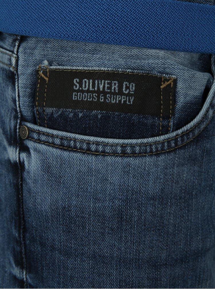 Blugi barbatesti albastri slim din denim cu aspect uzat s.Oliver