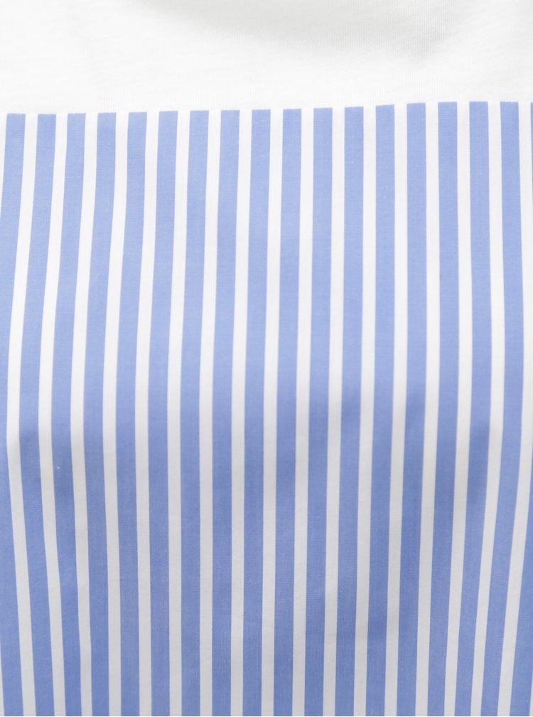Modro–biele pruhované tričko s uzlom Rich & Royal