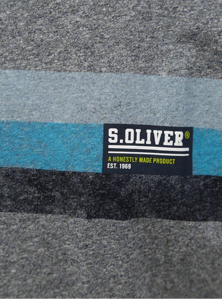 Šedé pánské žíhané tričko s potiskem s.Oliver