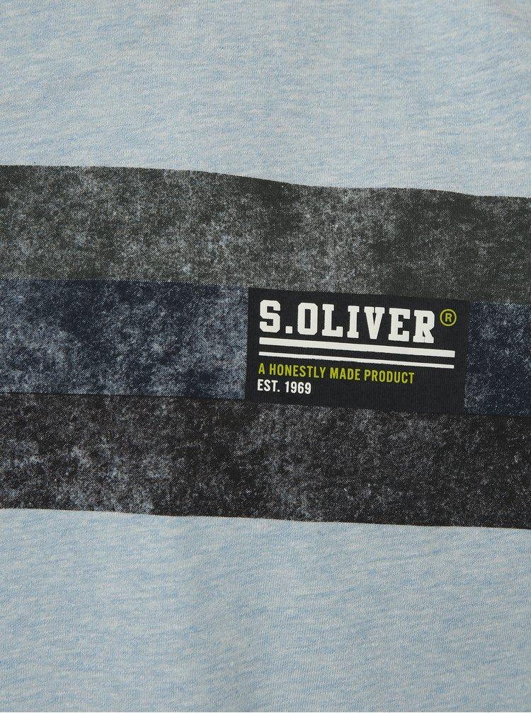 Modré pánské žíhané tričko s potiskem s.Oliver