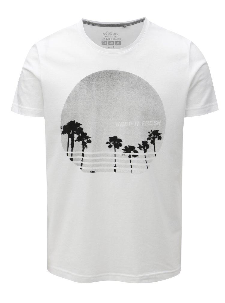 Biele pánske tričko s potlačou s.Oliver