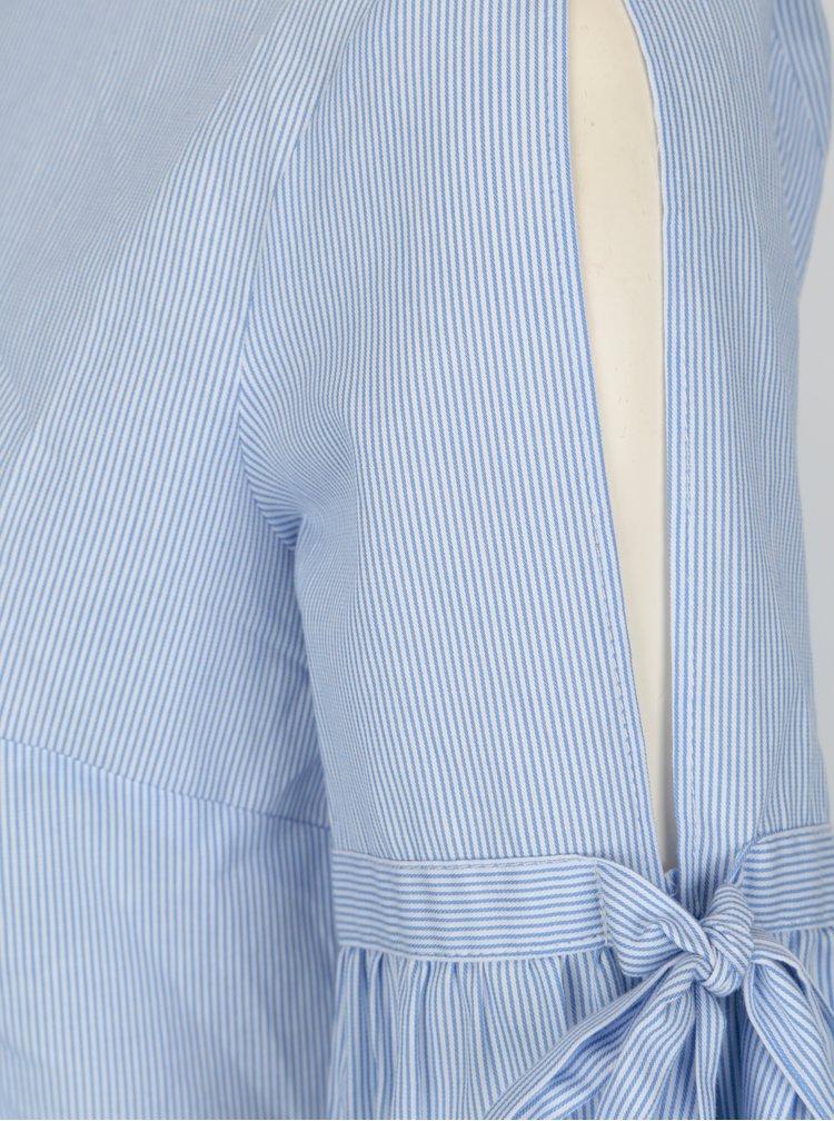 Světle modrá pruhovaná halenka s volánem VILA Vidi
