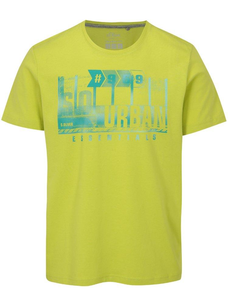 Žluté pánské regular fit tričko s potiskem s.Oliver