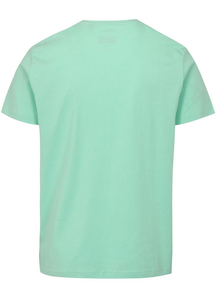 Světle zelené pánské regular fit tričko s potiskem s.Oliver