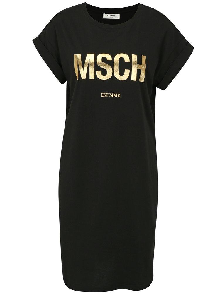 Černé šaty s potiskem ve zlaté barvě Moss Copenhagen Alvidera