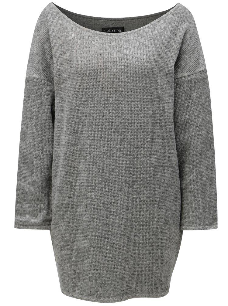 Šedý žíhaný svetr THAÏS & STRÖE