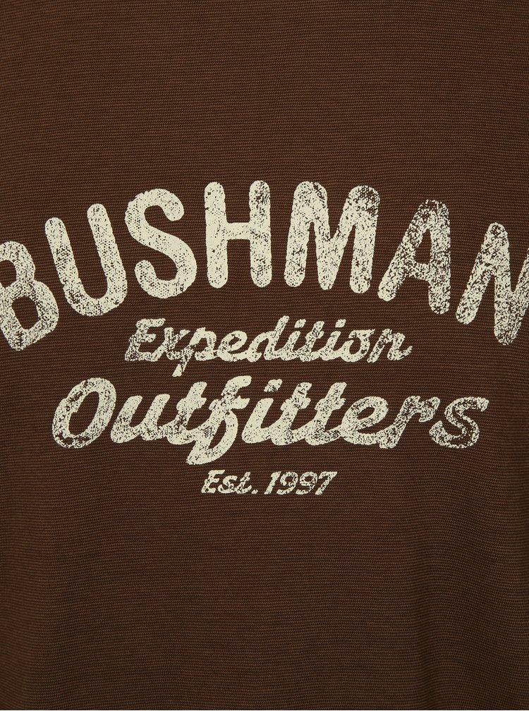Tmavě hnědé pánské tričko s potiskem BUSHMAN Cornhill