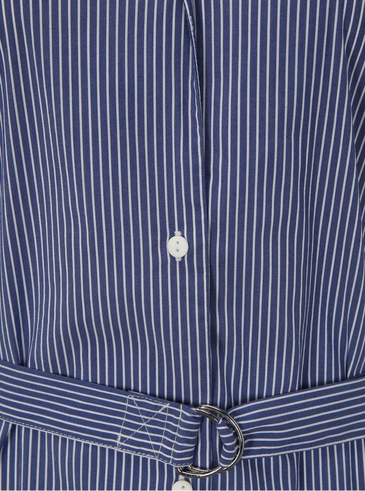 Modré volné pruhované košilové midi šaty Moss Copenhagen Memba