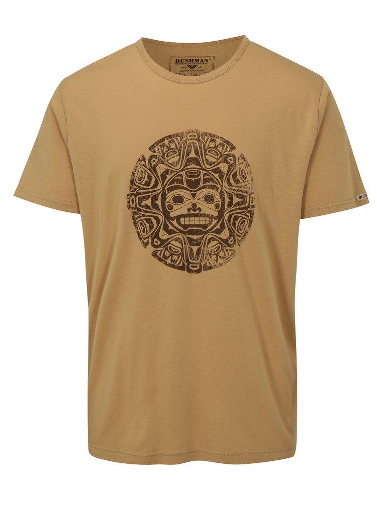 Světle hnědé pánské tričko s potiskem BUSHMAN Function
