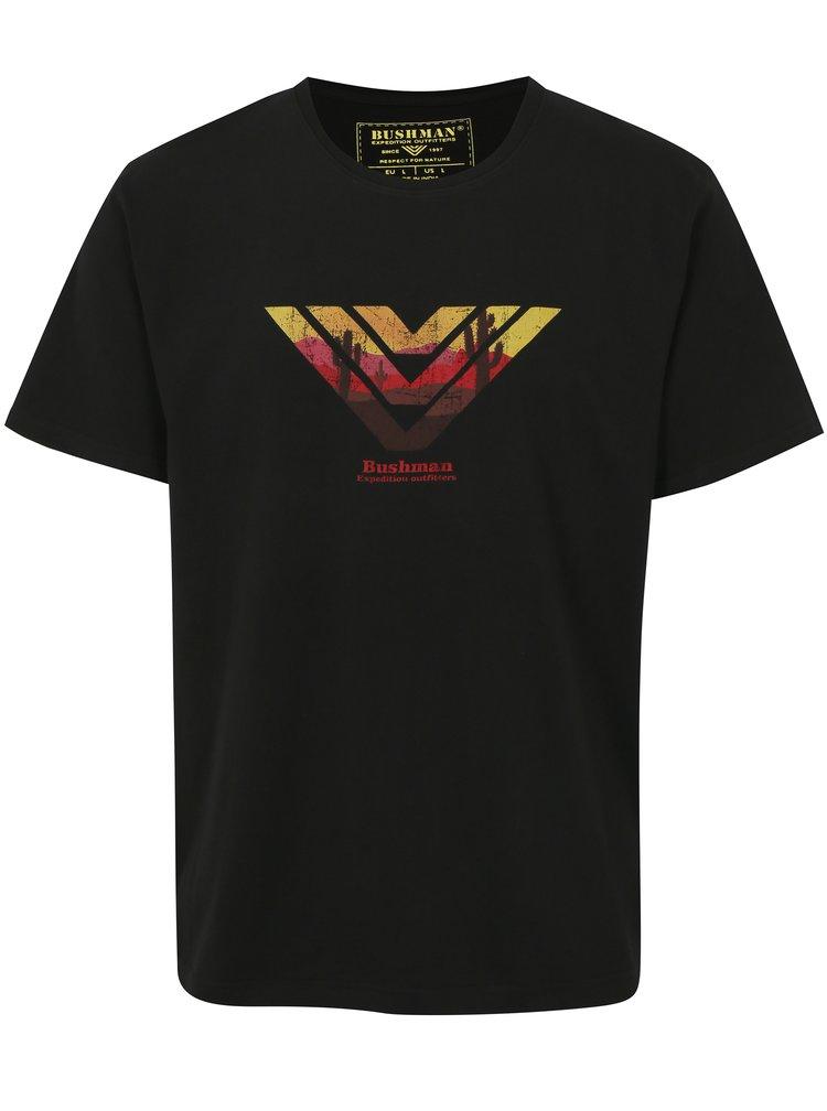 Černé pánské tričko s potiskem BUSHMAN Encinal