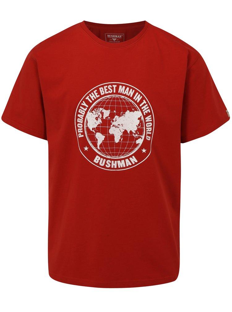 Červené pánské tričko s potiskem zeměkoule BUSHMAN Wickham
