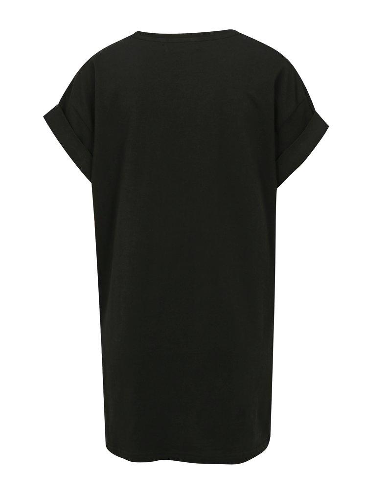 Černé volné tričko s bílým potiskem Moss Copenhagen Alva