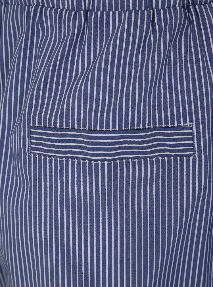 Modré volné pruhované kraťasy s vysokým pasem Moss Copenhagen Memba